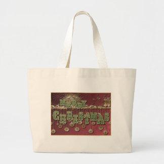 Deseos del navidad del vintage bolsa tela grande