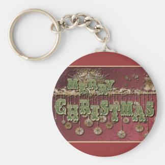 Deseos del navidad del vintage llavero personalizado
