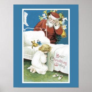 Deseos del navidad del vintage poster