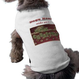 Deseos del navidad del vintage playera sin mangas para perro