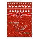 Deseos del navidad para mi esposa maravillosa tarjeta de felicitación
