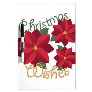 Deseos del navidad tablero blanco