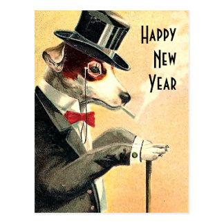 Deseos distinguidos del Año Nuevo del perro Tarjetas Postales