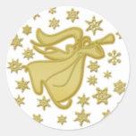 Deseos elegantes de los saludos del ángel del pegatinas redondas