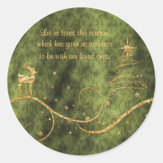 Deseos elegantes de los saludos del reno del etiqueta redonda
