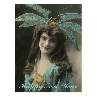 Deseos extraños del Año Nuevo del gorra Tarjeta Postal