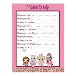 Deseos lindos de la fiesta de bienvenida al bebé postales