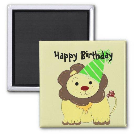 Deseos lindos del cumpleaños del león imán cuadrado