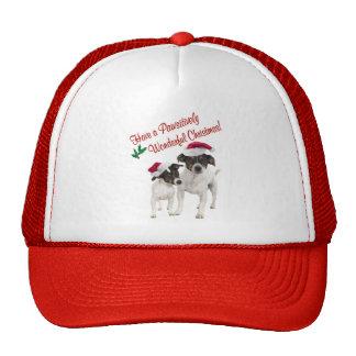 Deseos lisos del navidad del fox terrier del jugue gorro de camionero
