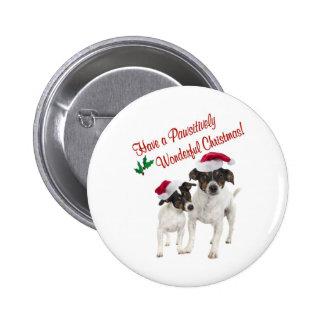 Deseos lisos del navidad del fox terrier del jugue pin redondo 5 cm