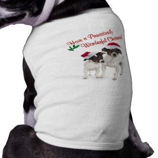 Deseos lisos del navidad del fox terrier del jugue playera sin mangas para perro