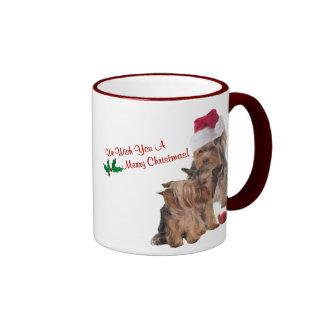 Deseos maravillosos del navidad del perrito de Yor Tazas