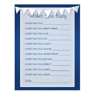 Deseos para el azul de golpe ligero del amor de la tarjetas postales