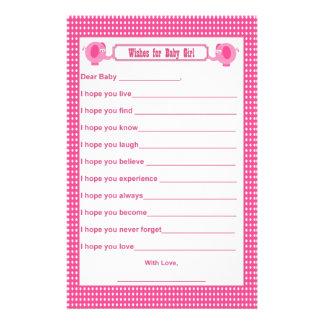 Deseos para el bebé - elefante P del recuerdo de l Personalized Stationery
