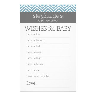 """Deseos para el bebé - juego azul en colores pastel folleto 5.5"""" x 8.5"""""""
