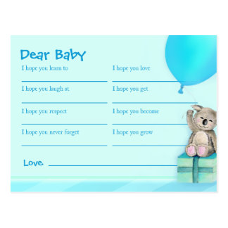Deseos para el bebé - postal de la fiesta de bienv