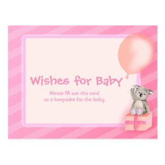 Deseos para la niña - postal de la fiesta de bienv