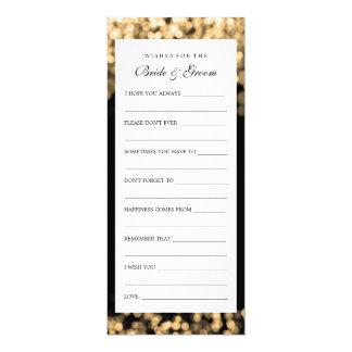 """Deseos para las luces del oro de novia y del novio invitación 4"""" x 9.25"""""""