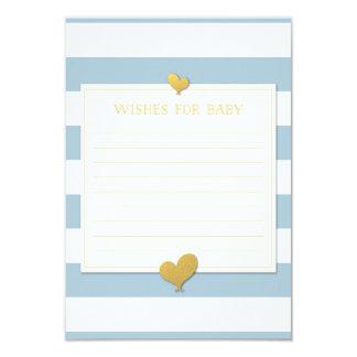 """Deseos para las rayas azules de la tarjeta de nota invitación 3.5"""" x 5"""""""