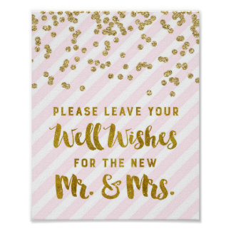 Deseos para las rayas de Sr. y de señora Wedding Póster