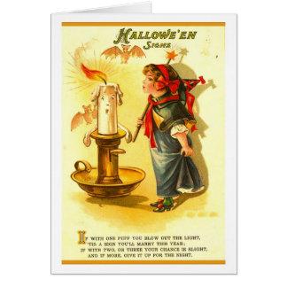 Deseos retros de la palmatoria de Halloween del vi Tarjeton