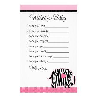 Deseos rosados del elefante del estampado de zebra  papeleria de diseño