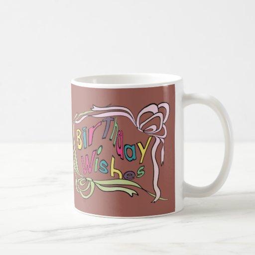 Deseos torcidos del cumpleaños tazas de café