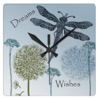 Deseos y sueños reloj cuadrado