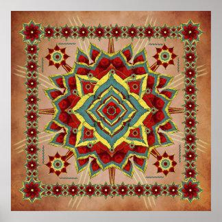 Desert Autumn Reds Mandala Poster