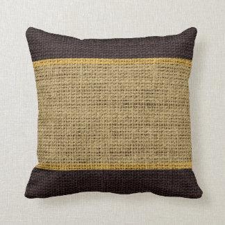 Desert & Brown Rustic Burlap Jute Background Throw Pillow