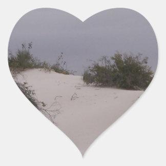 Desert Brush in White Sand Heart Sticker