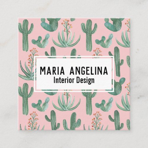Desert Cactus and Succulents Watercolor Design Square Business Card