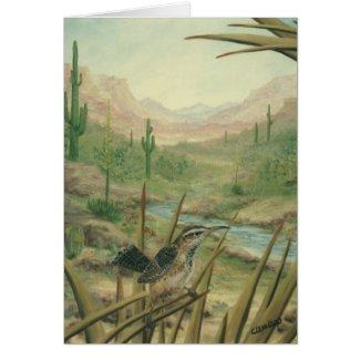 Desert Cactus Bird Card