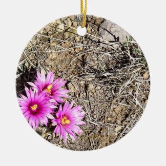 Desert Cactus Daisy Ceramic Ornament