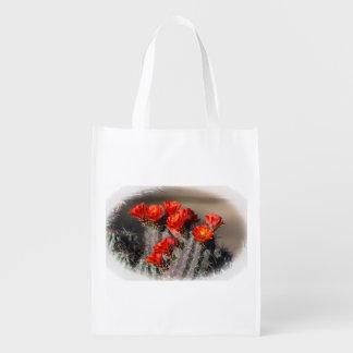 Desert Cactus Flower Grocery Bag