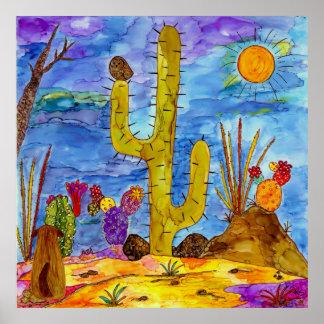 "Desert Cactus Morning Dog 32"" x 32"" Poster"