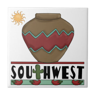 Desert Cactus, Red Chilis, Pottery - Southwest Ceramic Tile