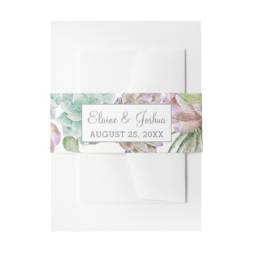 Desert Cactus Succulent invitation belly band