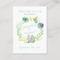 Desert Cactus Succulent Leaf Table Seating Place Place Card
