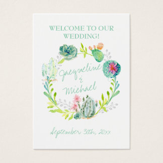 Desert Cactus Succulent Leaf Welcome Wedding Table Business Card