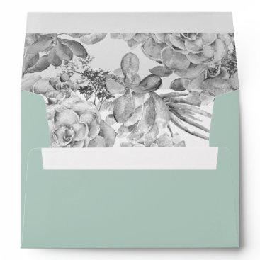 Desert Cactus Succulent liner wedding Envelope