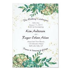 Desert Cactus Succulent Romantic Wedding Invites at Zazzle