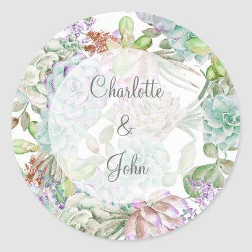 Desert Cactus Succulent Wedding stickers