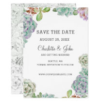 Desert Cactus Succulents save the dates Card