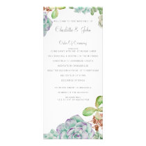 Desert Cactus Succulents Wedding programs