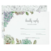 Desert Cactus Succulents Wedding rsvp Card