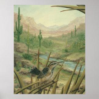 Desert Cactus Wren Poster