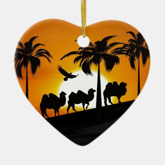 Desert Camels at sunset Ceramic Ornament