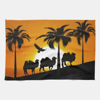 Desert Camels at sunset Hand Towels