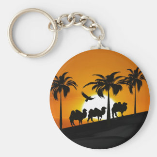 Desert Camels at sunset Keychain